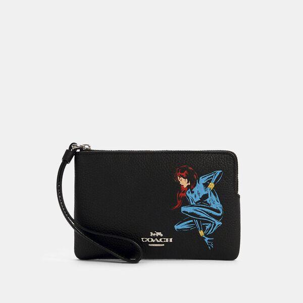 Coach x Marvel Corner Zip Wristlet With Black Widow, SV/BLACK MULTI, hi-res