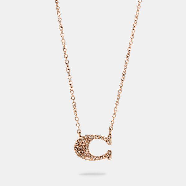 Pave Signature Necklace, ROSEGOLD, hi-res