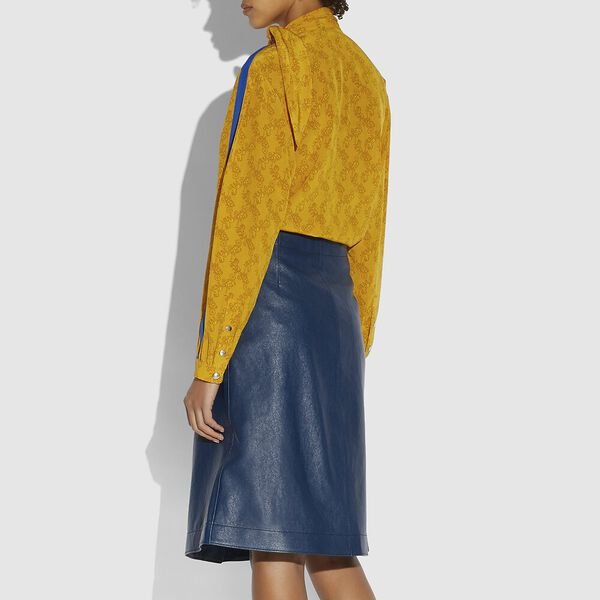 Horse And Carriage Tie Neck Blouse, Ochre, hi-res