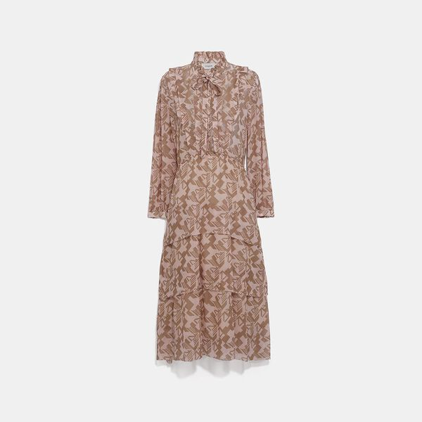 Georgette Ruffle Dress, PINK/TAN, hi-res