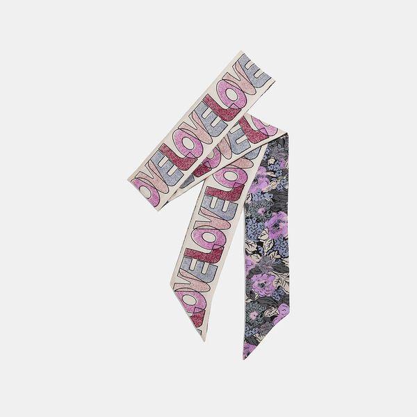 Love Nostalgic Blossom Print Silk Skinny Scarf, Lilac, hi-res