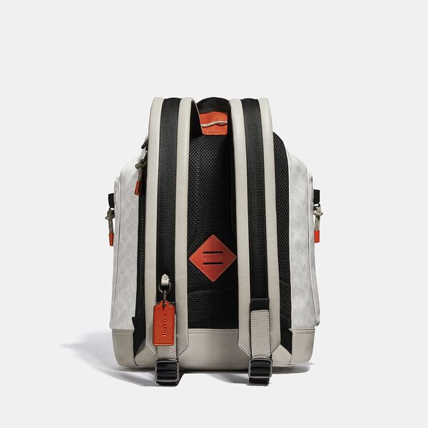 Pacer Utility Backpack In Signature Canvas With Coach Patch, JI/CHALK/MANGO, hi-res