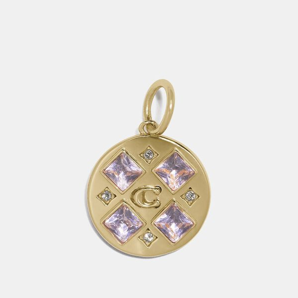 Collectible Crystal Signature Disc Charm, GOLD/PINK, hi-res