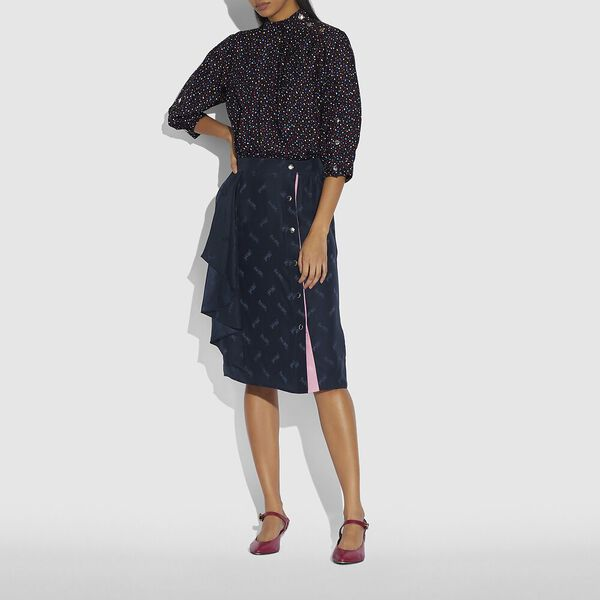 Jacquard Skirt With Front Drape, NAVY, hi-res
