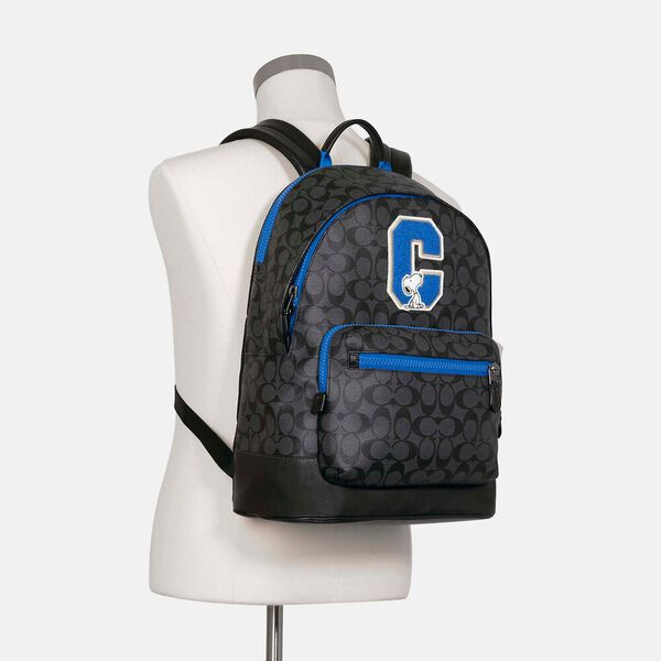 Coach X Peanuts West Backpack In Signature Canvas With Snoopy, QB/CHARCOAL MULTI, hi-res