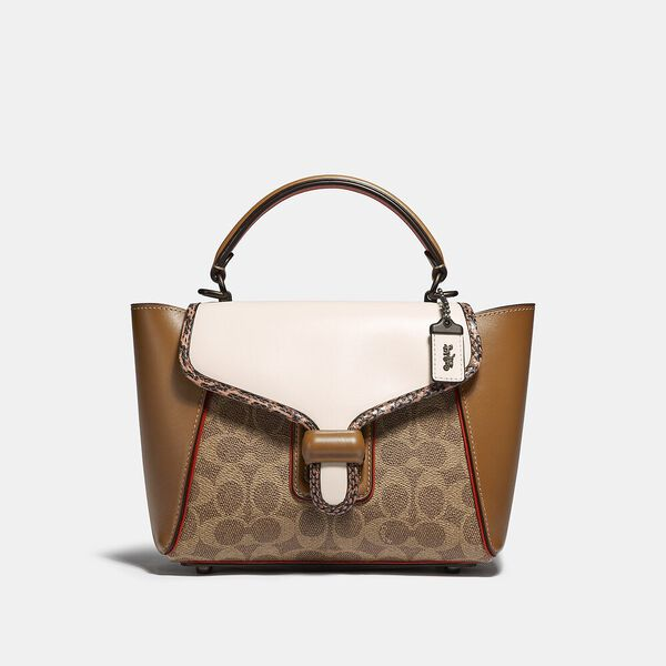 Courier Carryall 23 In Colorblock Signature Canvas With Snakeskin Detail