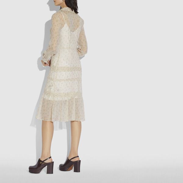 Dot Georgette Pleated Dress, IVORY/PINK, hi-res