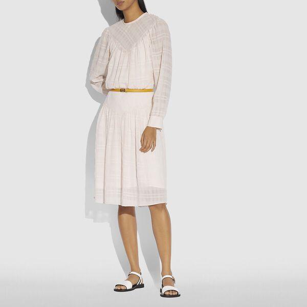 Plaid Yoke Dress, Cream, hi-res
