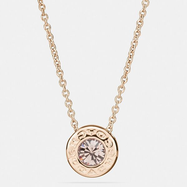 Open Circle Stone Strand Necklace, ROSEGOLD, hi-res