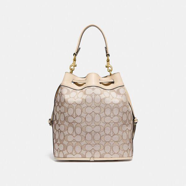 Field Bucket Bag In Signature Jacquard, B4/STONE IVORY, hi-res