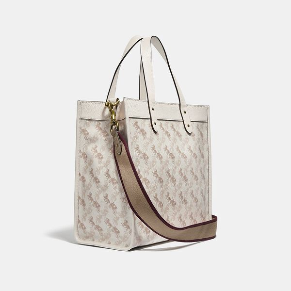 Field Tote With Horse And Carriage Print, B4/CHALK TAUPE, hi-res