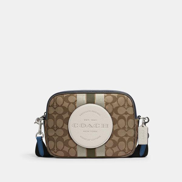 Dempsey Camera Bag In Signature Jacquard With Stripe And Coach Patch, SV/KHAKI CLK PALE GREEN MULTI, hi-res