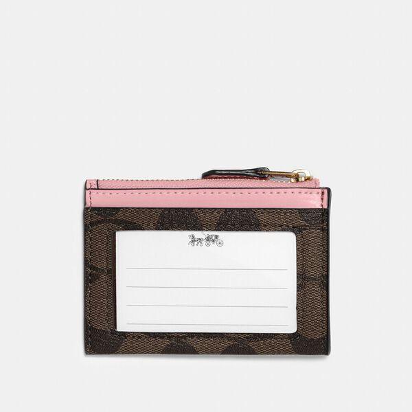 Mini Skinny Id Case In Signature Canvas, IM/BROWN/TRUE PINK, hi-res