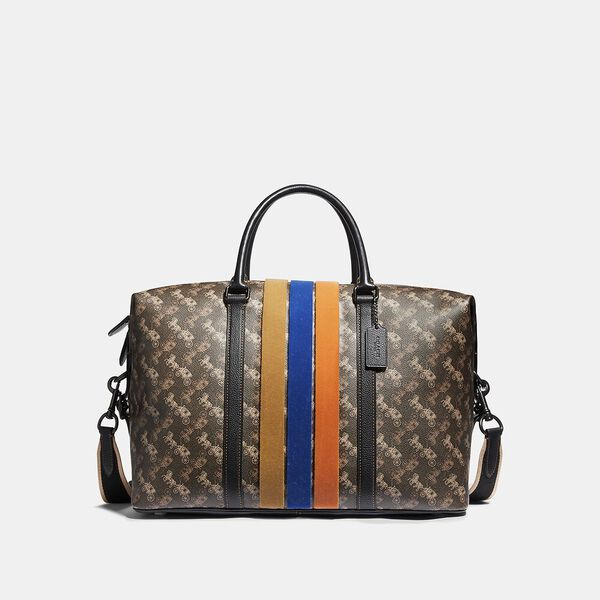 Metropolitan Duffle With Horse And Carriage Print And Varsity Stripe