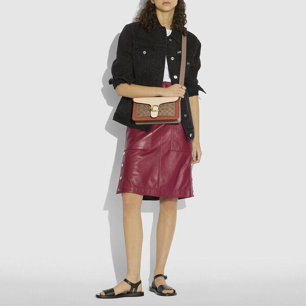 Tabby Shoulder Bag 26 With Signature Canvas, B4/TAN IVORY, hi-res