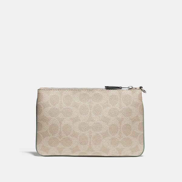Small Wristlet In Blocked Signature Canvas, LH/TAN SAND ORCHID, hi-res