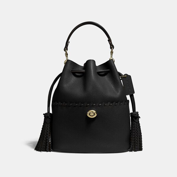Lora Bucket Bag With Whipstitch Detail, B4/BLACK, hi-res
