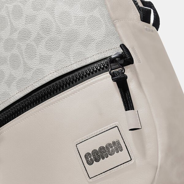 Pacer Backpack In Signature Canvas With Coach Patch, JI/CHALK/BONE, hi-res