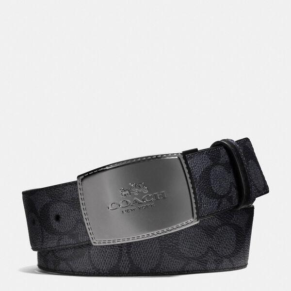 Stitched Plaque Cut-To-Size Reversible Belt, CHARCOAL/BLACK, hi-res