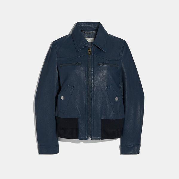 Double Zip Leather Blouson