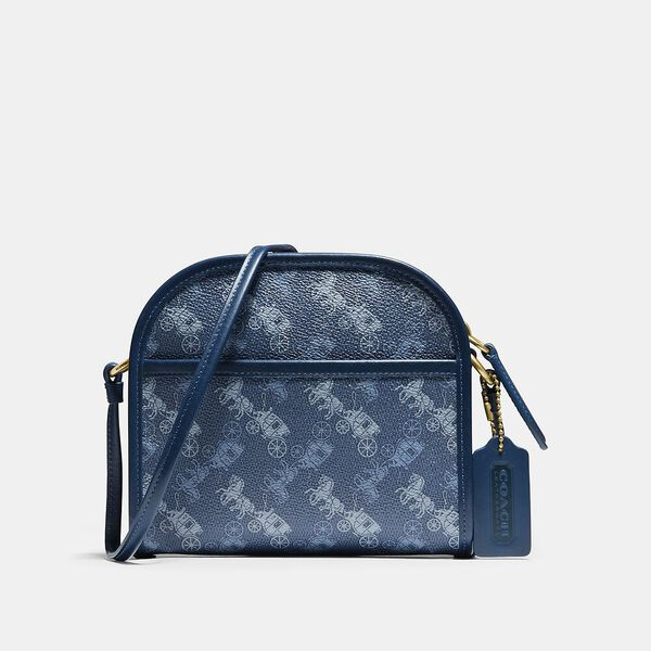 Zip Crossbody With Horse And Carriage Print, Ol/True Blue, hi-res