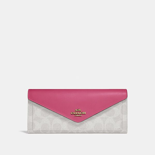 Soft Wallet In Colorblock Signature Canvas, B4/CHALK CONFETTI PINK, hi-res