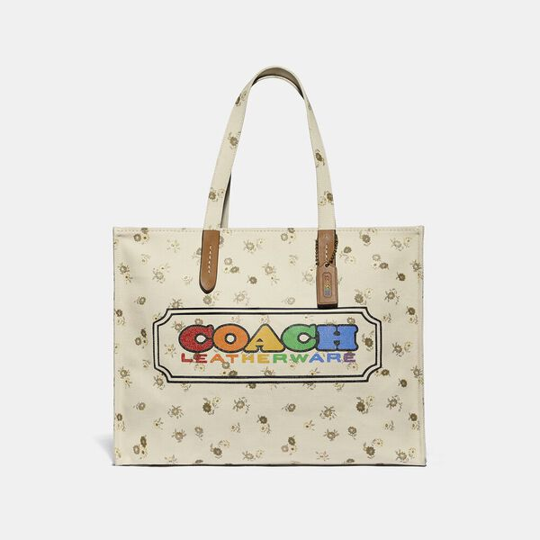 Tote With Rainbow Coach Badge, MULTI, hi-res