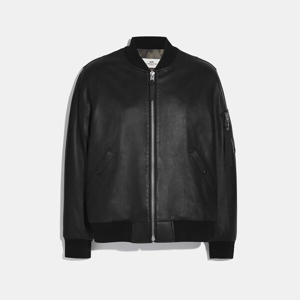 Leather Ma-1 Jacket, BLACK, hi-res