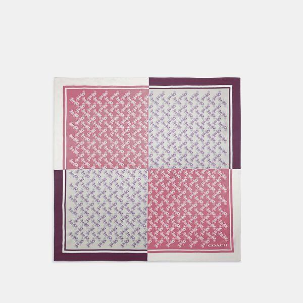 Diagonal Horse And Carriage Checker Print Silk Square Scarf