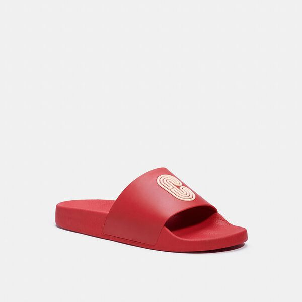 Slide With Coach Patch, ELECTRIC RED, hi-res