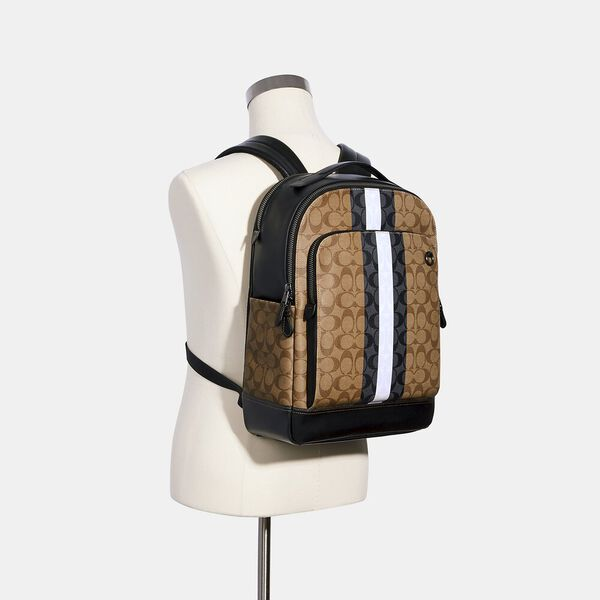 Coach Graham Backpack In Blocked Signature Canvas With Varsity Stripe, QB/TAN MULTI, hi-res