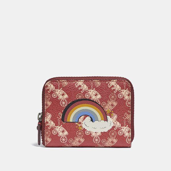 Small Zip Around Wallet With Horse And Carriage Print And Rainbow, V5/RED DEEP RED, hi-res