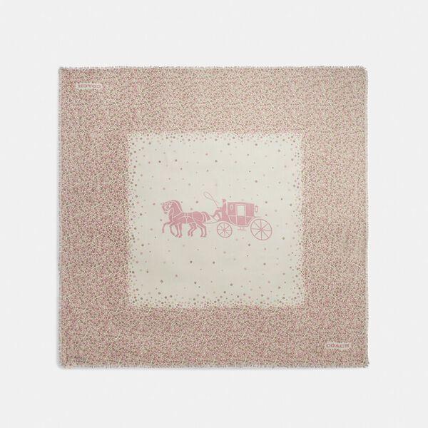 Horse And Carriage Tea Rose Print Oversized Square Scarf, AURORA, hi-res