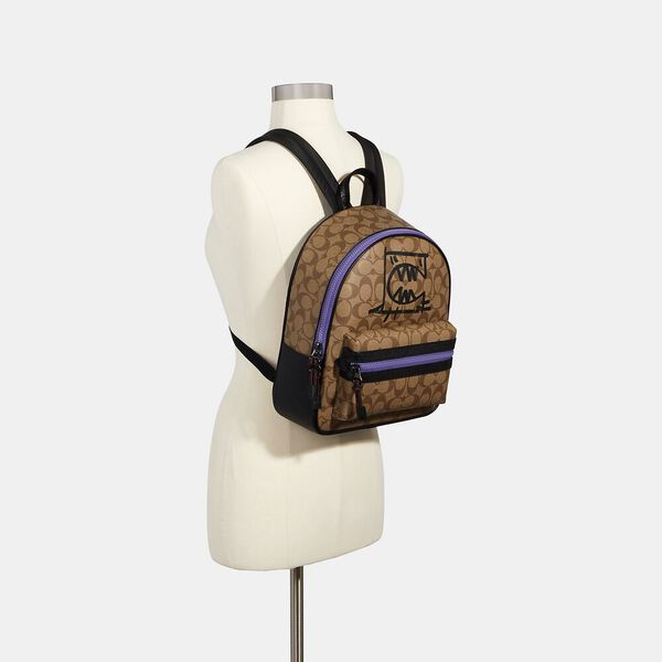 Vale Medium Charlie Backpack In Signature Canvas With Rexy By Guang Yu, QB/KHAKI BLACK MULTI, hi-res