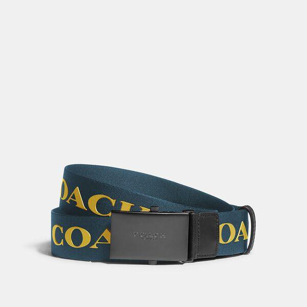 Plaque Buckle Belt With Coach Print, 35mm