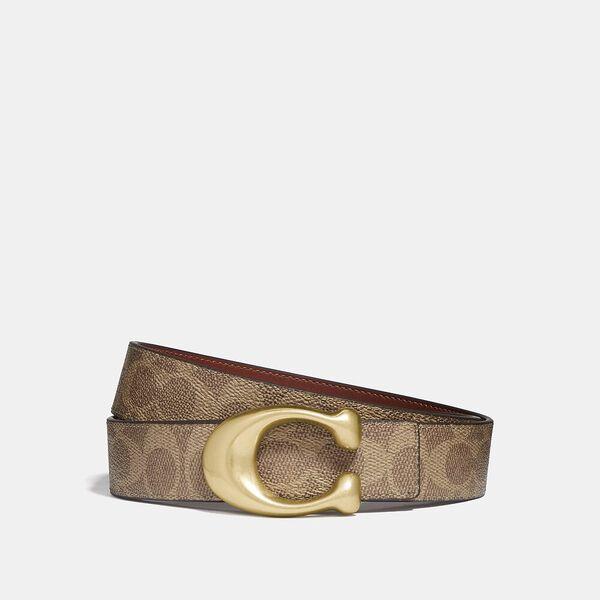 Signature Buckle Reversible Belt, 32Mm, B4/TAN RUST, hi-res