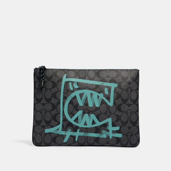 Large Pouch In Signature Canvas With Rexy By Guang Yu, QB/CHARCOAL BLUE GREEN, hi-res