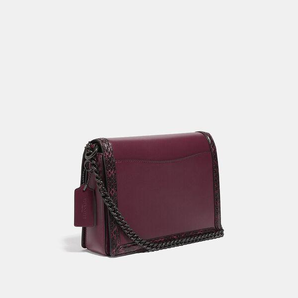 Hutton Shoulder Bag With Snakeskin Detail, V5/BLACK CHERRY, hi-res
