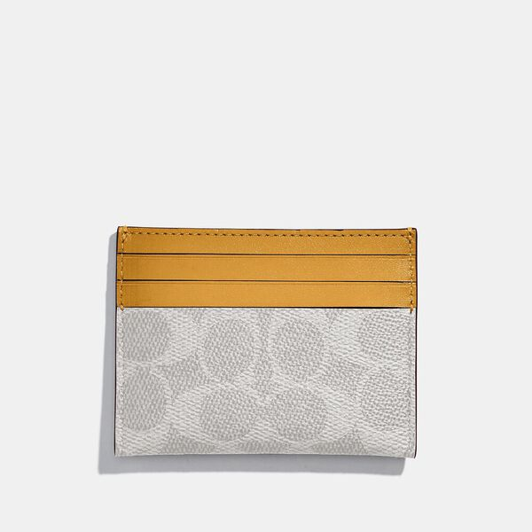 Card Case In Colorblock Signature Canvas, B4/CHALK POLLEN, hi-res