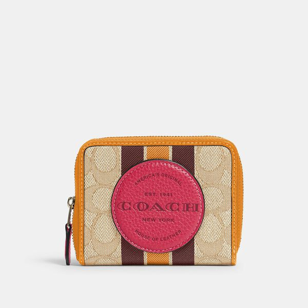 Dempsey Small Zip Around Wallet In Signature Jacquard With Stripe And Coach Patch, IM/LT KHAKI ELECTRIC PINK, hi-res