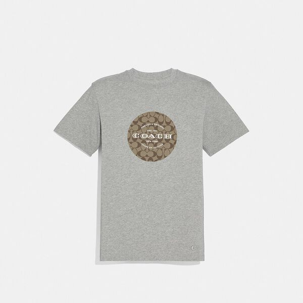 Coach Signature T-Shirt, HEATHER GREY, hi-res