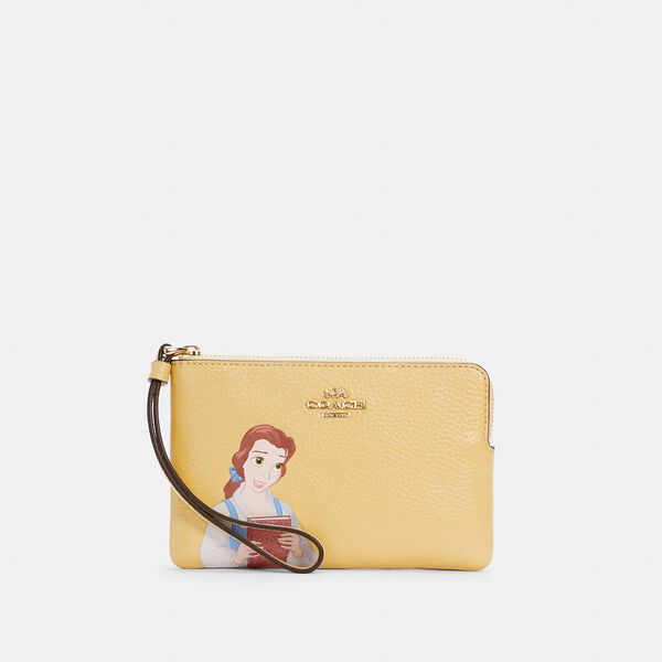 Disney x Coach Corner Zip Wristlet With Belle