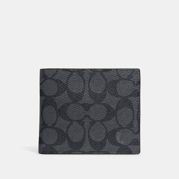 3-In-1 Wallet In Signature Canvas, CHARCOAL/BLACK, hi-res