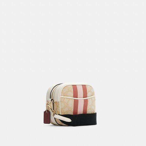 Mini Dempsey Camera Bag In Signature Jacquard With Stripe And Coach Patch, IM/LT KHAKI VANILLA CREAM MULT, hi-res