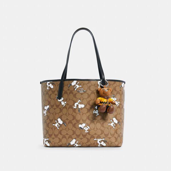 Coach X Peanuts Charlie Brown Bear Collectible Bag Charm, SV/LIGHT SADDLE MULTI, hi-res