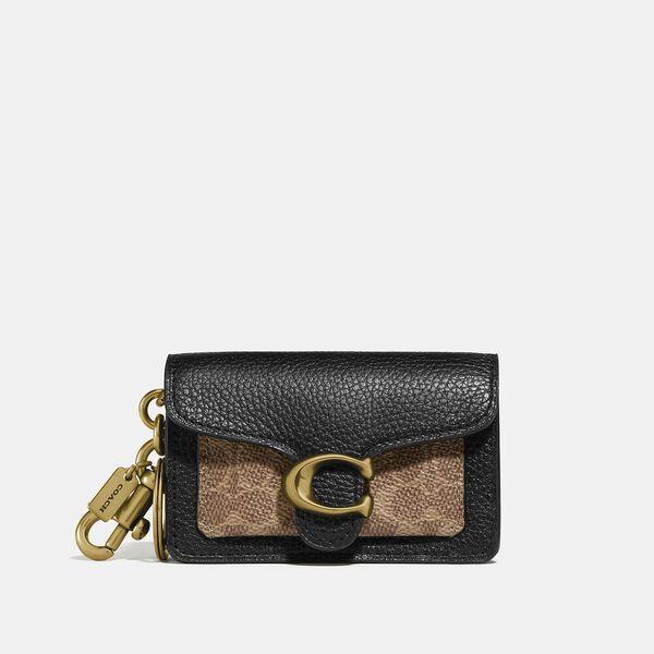 Mini Tabby Bag Charm In Signature Canvas, B4/BLACK, hi-res