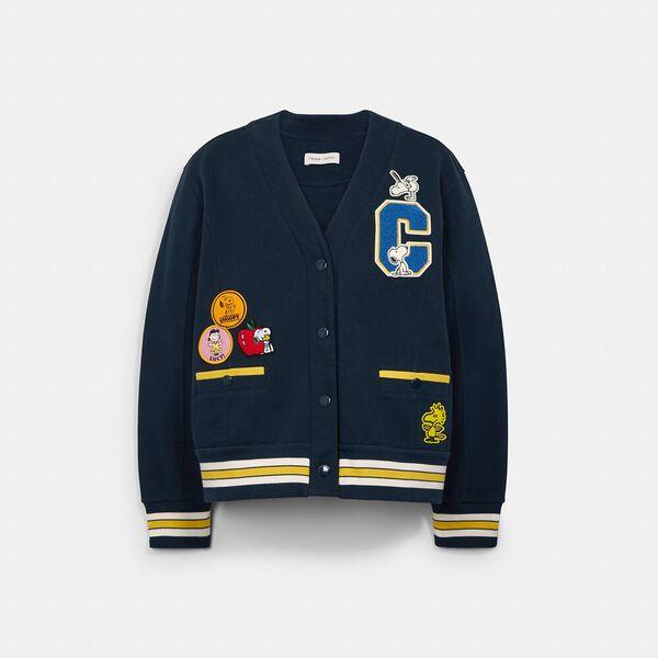 Coach X Peanuts Letterman Jacket, BRIGHT NAVY, hi-res
