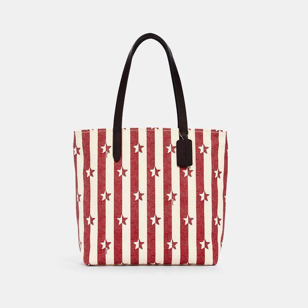 Tote With Stripe Star Print, SV/CHALK RED MULTI, hi-res