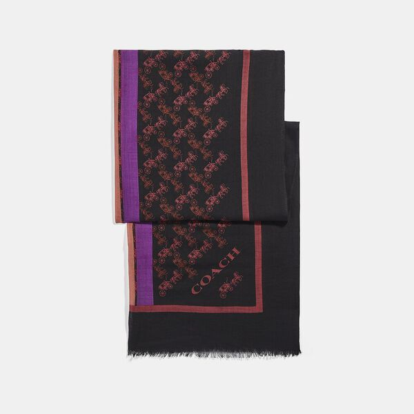 Horse And Carriage Print Varsity Stripe Oblong Scarf, BLACK/OXBLOOD, hi-res