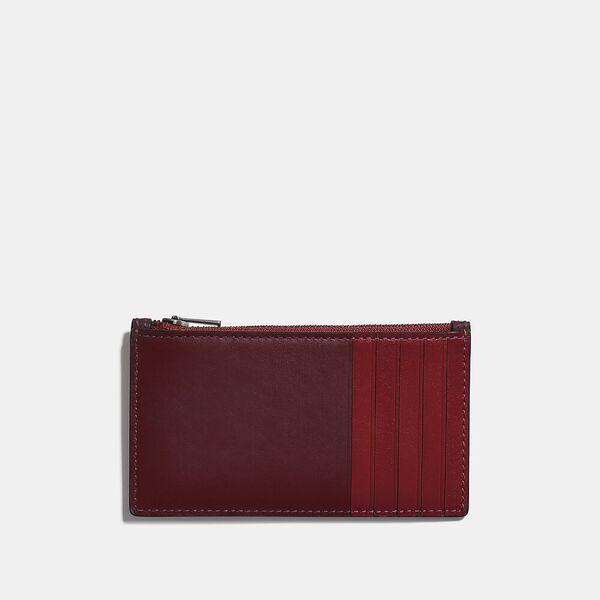 Zip Card Case In Colorblock, WINE/DARK CARDINAL, hi-res